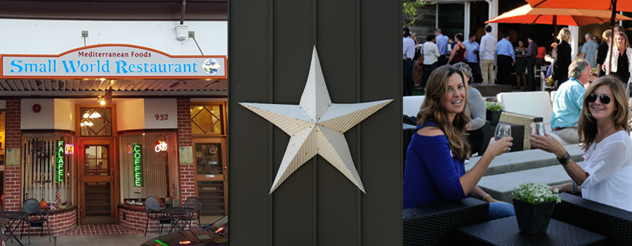 Photo collage of small world restaurant, a star on wood, and two women with wine