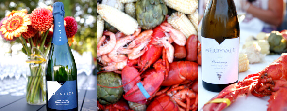 Photo collage of people sitting at table, lobsters being placed, and lobster feast